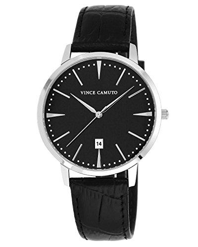 Vince Camuto - VC/1073BKSV - Montre Mixte - Quartz - Analogique - Bracelet Cuir noir