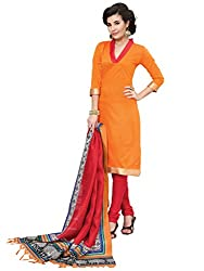 Inddus Women Orange & Red Printed Dress Material
