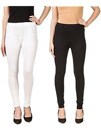 PRASITA Fashion Women's Cotton Lycra Churidar Leggings Pack Of 2 WHITE BLACK