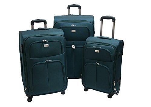 justGlam-Set-3-valigie-trolley-Ormi-semirigido-in-tessuto-4-ruote-piroettanti-ultra-leggero-petrolio
