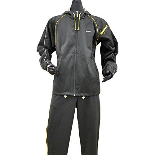 Zigue(ジギー)ストレッチ素材 フード付き メンズ サウナスーツ 3Lサイズ ブラック/ゴールド
