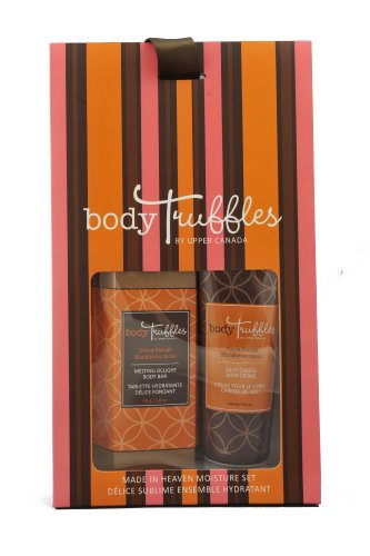 Upper Canada Soap & Candle Body Truffles Made in Heaven Fudge Brownie Silky Caress Body Cream and Melting Delight Body Bar Gift Set