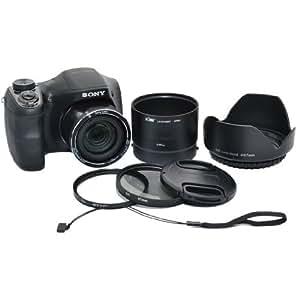 Kiwifotos Kit d'accessoires pour Panasonic Lumix DMC-FZ200 & Leica V-LUX 4 - Adaptateur d'objectif comprend, Pare-soleil d'objectif, Filtres UV & CPL, Bouchon d'objectif et Bouchon d'Objectif gardien