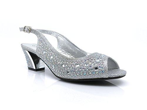 Lime01 Womens Open Toe Low Heel Wedding Rhinestone Wedge Sandal Shoes (7.5, Silver)