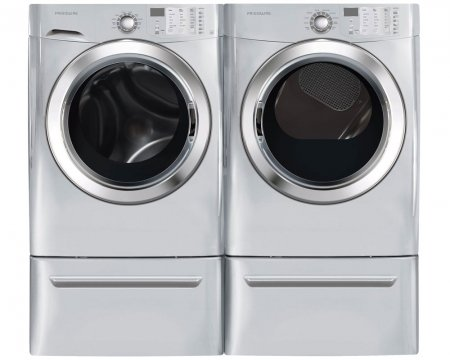 Frigidaire Pair Special-Ultra Stylish, Mega Capacity Laundry System with GAS DRYER, READY STEAM and Matching Pedestals (FFFS5115PA+FFSG5115PA+CFPWD15A X 2)