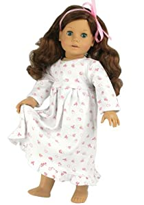 Dolls Nightgown fits American Girl Dolls, Print Knit Nightgown for 18 Inch Dolls