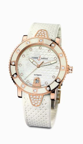New Ladies Ulysse Nardin Lady Diver Diamonds 18K Gold Auto White Watch 8106-101E-3C/10