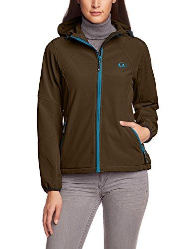 Ultrasport Damen Softshell Jacke mit Kapuze Estelle, taupe/turquoise, S, 20056