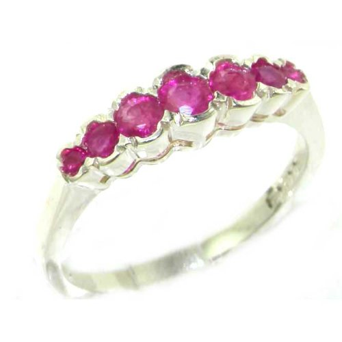 High Quality Solid Sterling Silver Ladies Natural Ruby Contemporary Style Eternity Band Ring - Size 6.75 - Finger Sizes 5 to 12 Available