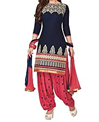 Vedant Vastram Woman's Poly Cotton Printed Unstitched Dress Material (Blue & Pink Colour)