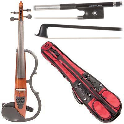 Yamaha Sv-130 Concert Select Silent Electric Brown 4/4 Violin Outfit Including A Johnson Artist Carbon Composite Bow & Yamaha Red Gig Bag