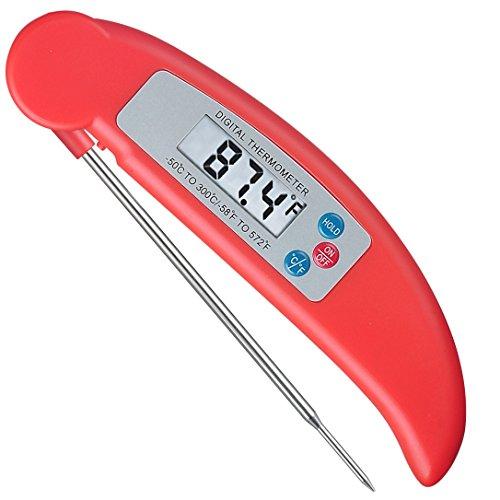 Rixow Termometro Digitale Da Cucina,Sonda Per Cuocere Cibi, Barbecue, Pollame, Barbecue, Carne Bistecca (Pieghevole, Auto On / Off)