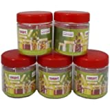 Sunpet Set of 6 100ml Red Top Plastic Food Storage Canisters Jar Kitchen