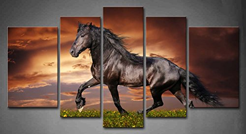 5 Panel Wall Art Black Friesian Running Horse Trot On The Field On Sunset Grass And Flower Painting Pictures Print On Canvas Animal The Picture For Home Modern Decoration Piece (Stretched By Wooden Frame,Ready To Hang)