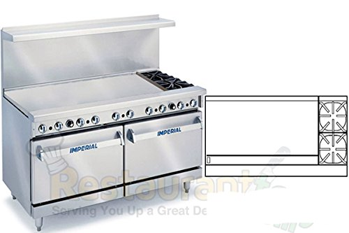 "Imperial Commercial Restaurant Range 60"" W/ 2 Burner 48"" Griddle 2 Standard Oven Nat Gas Ir-2-G48"