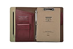 Ultra Slim ,3 Ring Binder Portfolio Case with Clipboard for organizing loose documents,Beige+Burgundy
