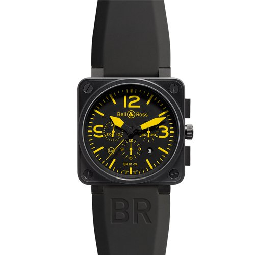 Bell & Ross BR0194YELL Automatic Stainless Steel Case Black Rubber Anti-Reflective Sapphire Men's Watch