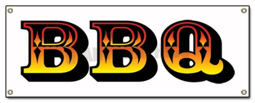 Bbq -Outdoor Vinyl Banner- Barbque BBQ Smoker Sign Signs