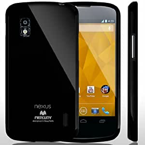 SQ1 [Mercury] Slim Fit Flexible TPU Case for LG Google Nexus 4 (Black)