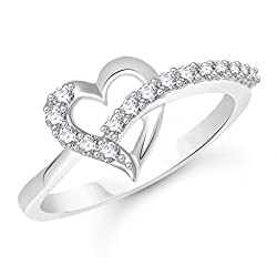 V. K. Jewels Rhodium Plated Alloy Ring For Women & Girls - Fr2071R Size 8 [Vkfr2071R8]