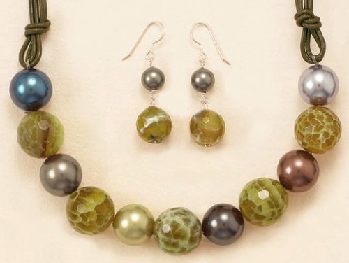 17+2inExt. Green Leather Necklace ONLY, Sterling Clasp, 16mm Green Fire Agate/13mm Pearls