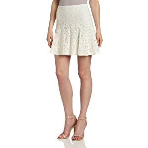 French Connection Women's Fast Isabella Lace Skirt, White, 6