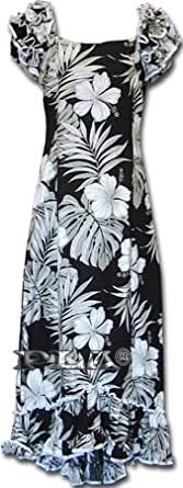 Luau Hawaiian Muumuu Hawaiian Dress - Womens Hawaiian Dress - Aloha Dress - Hawaiian Clothing - 100% Cotton Black Large