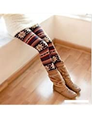 Multi Colored Womens Knitted Snowflakes Leggings