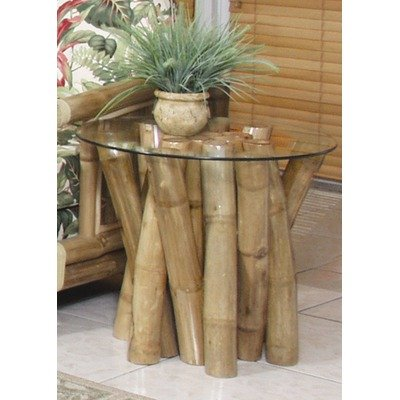 Buy Low Price Bamboo Bundled End table w/ Glass by Hospitality Rattan – Natural Color Bamboo (907-1311-NAT-ET) (907-1311-NAT-ET)