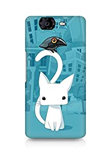 Amez designer printed 3d premium high quality back case cover for Micromax Canvas Knight A350 (Cat n Crow)