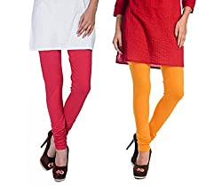 Rupa Softline Red and Yellow Cotton Leggings Combo (Pack Of 2)
