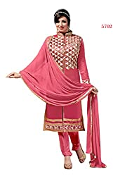 BanoRani Pink Color Chanderi Embroidery Semi Stitched Salwar Suit