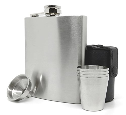 Premium Hip Flask Gift Set for Men & Women - Classic Matte Style Stainless Steel 7 oz Liquor Flask with Funnel, Cups and Carrier (Gentleman Jack Whisky compare prices)