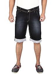WineGlass Men Cotton Stretch Denims 3/4 Shorts 282BK-30_Black_30