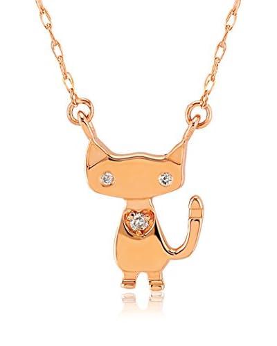 Divas Diamond Conjunto de cadena y colgante Diamond Gold Cat