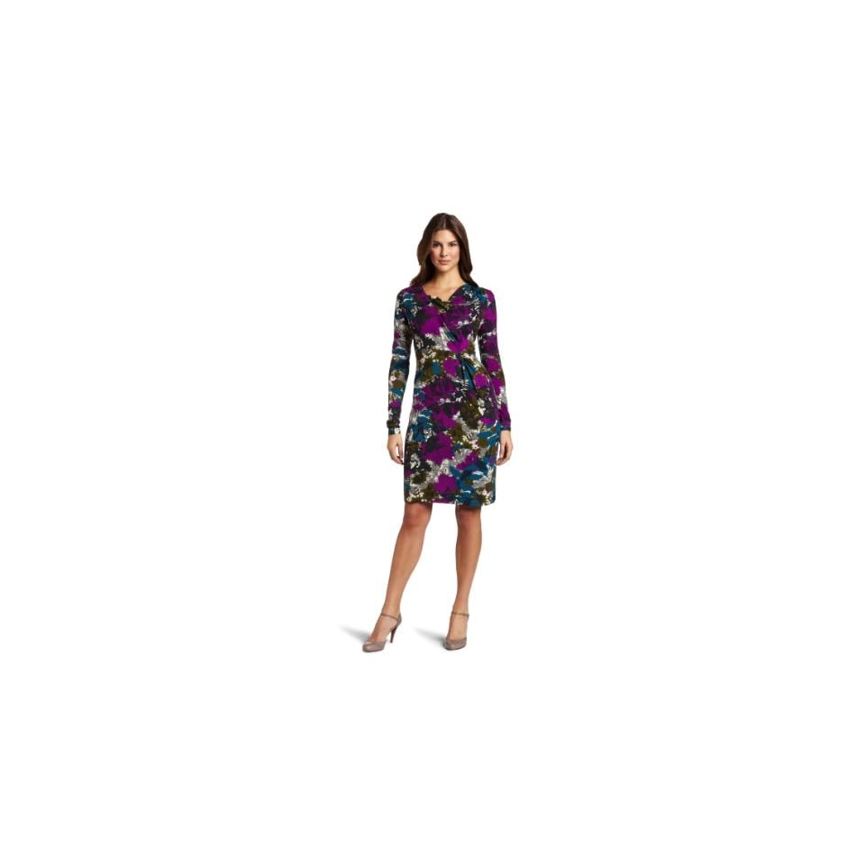 Anne Klein Womens Abstract Floral Wrap Dress