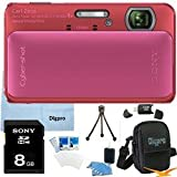 Sony Cyber-shot DSC-TX20 16.2 MP Exmor R CMOS Digital Camera with 4x Optical Zoom and 3.0-inch LCD (Pink) BUNDLE with Sony 8GB Card, Card Reader, Case, Mini Tripod, LCD Screen Protectors, Lens Cleaning Kit, Microfiber Cleaning Cloth
