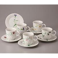 五草花 コーヒーカップ & ソーサー セット 5客 コーヒーセット 碗皿 陶器 美濃焼