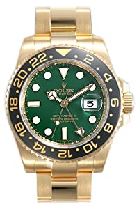 Rolex GMT Master II Green Index Dial Oyster Bracelet 18k Yellow Gold Mens Watch 116718GSO