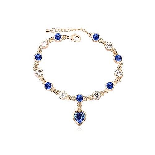 [Gold plated Swarvoski crystal elements charming heart bracelet for lover,Valentine day] (Starter Dance Costumes For Sale)