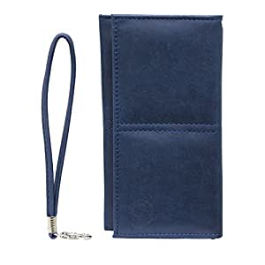 Jo Jo A5 Nilofer Leather Wallet Universal Pouch Cover Case For Celkon Millennia 2GB Xpress Dark Blue