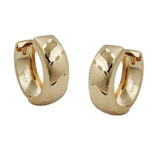 goldene Creolen Kreolen gold 375 Creole, vorn matt diamantiert, 9 Kt GOLD