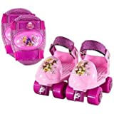 Disney Princess Kids Rollerskate with Knee Pads, Junior Size 6-12