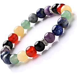 YJH Crystal 7 Chakra Balancing Bracelet Stretch Handmade 8mm Round Gemstones Healing Power Crystal