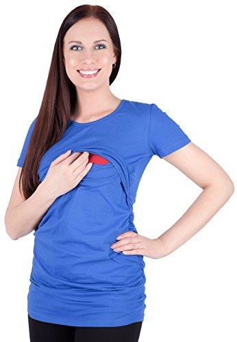 Mija - 2 in1 Kurzarm-Shirt Stillshirt & Umstandsshirt / Stilltop / Umstandstop 3074 (36, Blau)