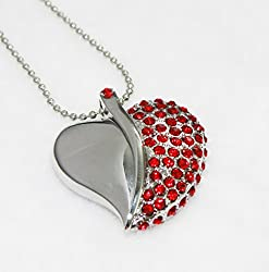 Anyusb032B Fancy Jewellery Studded Red Heart Shape Pen Drive (8 Gb) + Exclusive Hand Made Gift Box