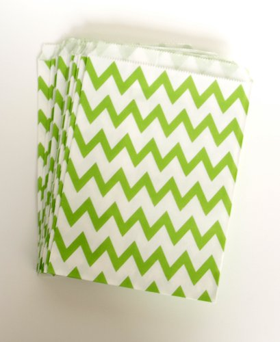 Party Favor Candy Pack Bags, Green Chevron (25 Pack) - Great Idea For Kids Birthday Giveaways & Goody Sacks front-724643