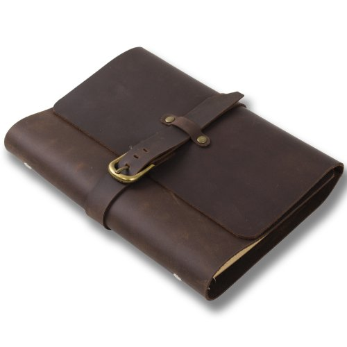 classic-leather-journal-notebook-refillable-with-strap-buckle-loose-leaf-binder-handmade-lined-craft