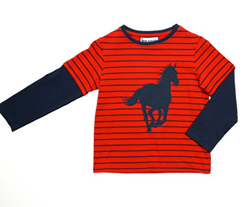 The Dragon And The Rabbit Little Boys' Long Sleeve Horse 4T Red/Navy