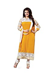 Zbuy Yellow Cotton Embroidered Unstitched Salwar Suit Dress Material